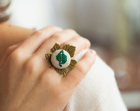 Cross stitch ring, embroidered ring, Ukrainian jewelry, Ukrainian patterns, Ukrainian motifs, Ukrainian embroidery