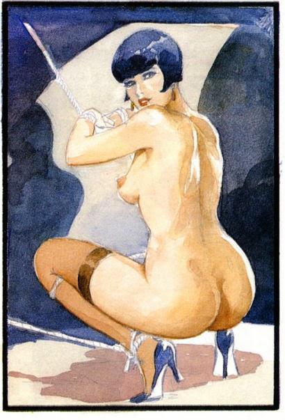 голая девушка сидящая на корточках спиной к художнику.