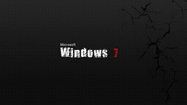 Zwarte Windows 7 wallpaper met mooie witte letters en rode 7