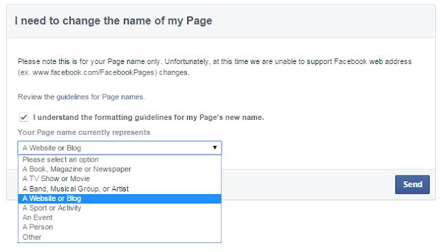 Cara-cara tukar nama Page Facebook