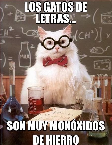 Chiste del gato químico: Los gatos de letras... son muy monóxidos de hierro.