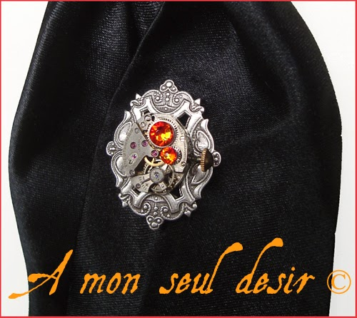 Pic à Cravate Steampunk mécanisme mouvement de montre mécanique bijou homme dandy gentleman time lord jewel tie pin