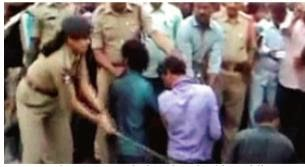 four murder suspects being thrashed in public at guntakal in anantapur