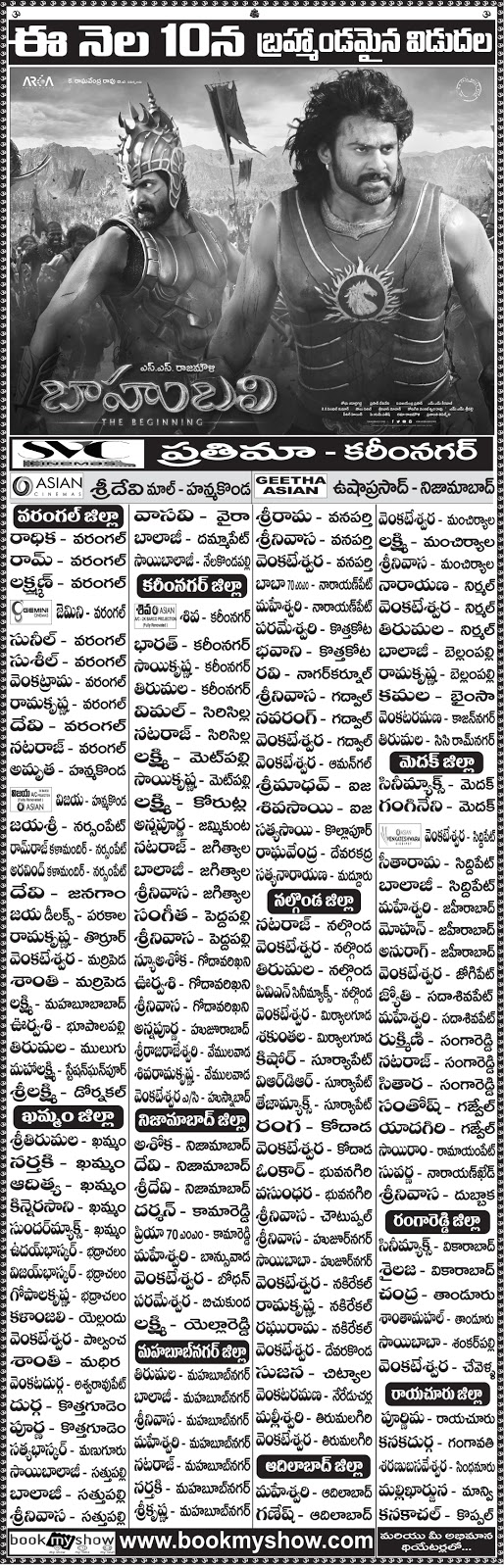 Baahubali Theaters List | Rajamouli | Prabhas | Anushka