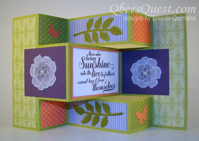 Qbees Quest Secret Garden Tri Fold Shutter Card Tutorial – Tri Fold Card