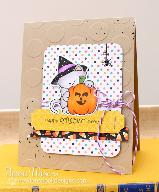 Cat Halloween Card by Tessa Wise for Newton's Nook Designs | Newton's Perfect Pumpkin Stamp Set