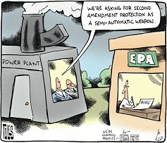 Tom Toles: Coal plants as semi-automatic weapons.