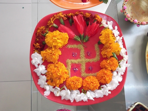Dews the school panchkula pooja thali decoration for Aarti thali decoration images