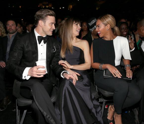 Justin Timberlake, Jessica Biel and Beyonce