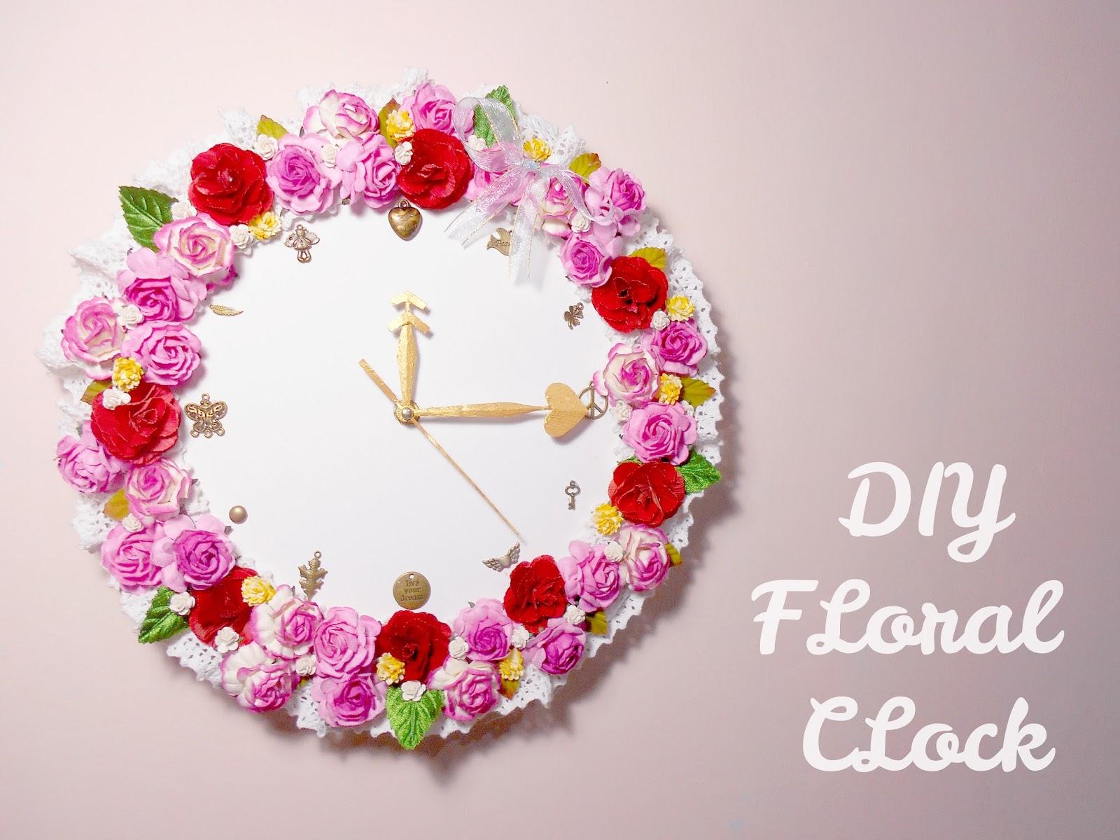 Floral clock diy room decoration idea diy floral clock room decoration idea amipublicfo Choice Image