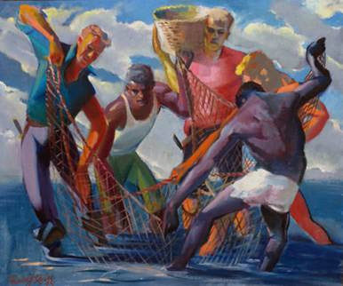 "Francis J. Quirk painting of ""The Fishermen"""