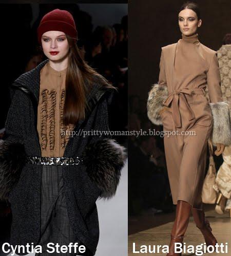 зимни палта с кожени маншети