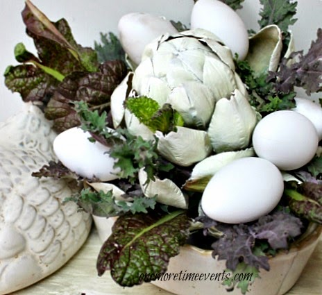 Lettuce and plastic eggs for a quick centerpiece at One More Time Events.com