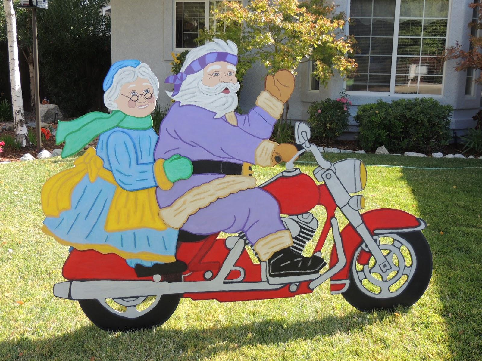 Motoblogn Santa Rides A Motorcycle Christmas Decorations