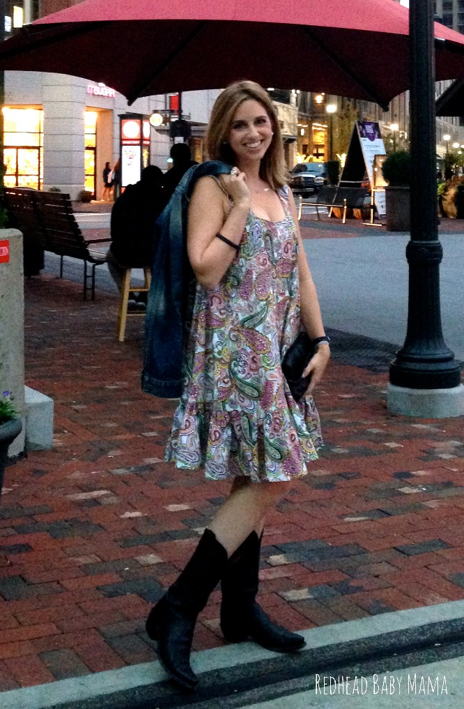 Summer to fall transition look with paisley trapeze dress and Lucchese cowboy boots
