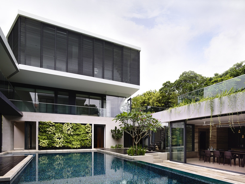 Swimming pool in an Impressive dream home in Singapore by a-dlab