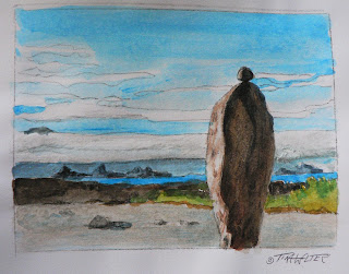 """The Watcher"" 3.5""x 4.6"" watercolor sketch on paper ©2015 Tina M. Welter  Rock cairns near Island Bay, New Zealand."