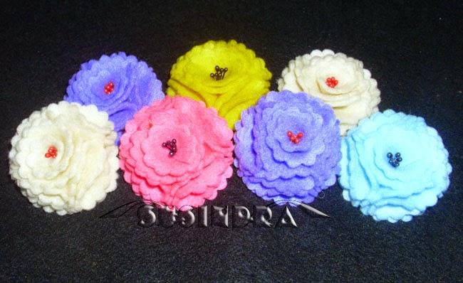 bros jepit rambut bandana dari bunga flanel
