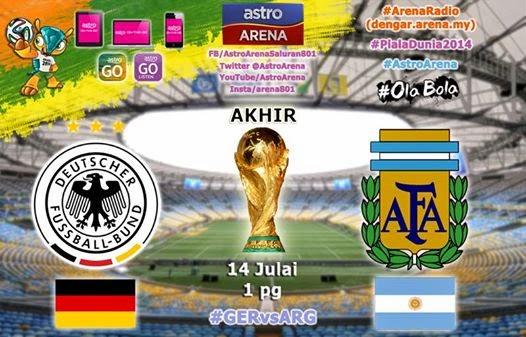 SIARAN LANGSUNG JERMAN dan ARGENTINA FINAL PIALA DUNIA 2014