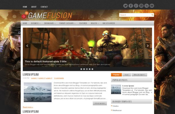 Free Games Black Jquery Blogger Theme Template