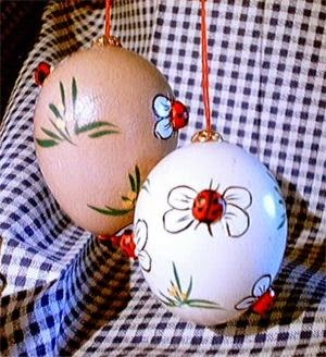 Eggs decorated with ladybirds