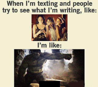cell phone mobile sms messaging texting  meme troll friends people peeking seeing hulk punch avengers