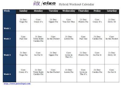 21 Day Fix and Cize Hybrid Workout Calendar