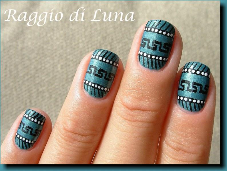 Raggio Di Luna Nails Greek Pattern Manicure On Turquoise