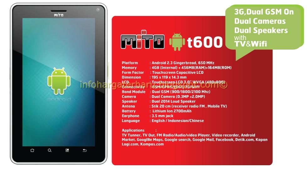 Harga MITO T600 Tablet Spesifikasi 2012