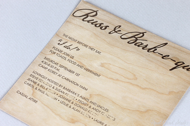 letterpress printing on wood cards, square, rustic wedding invitation