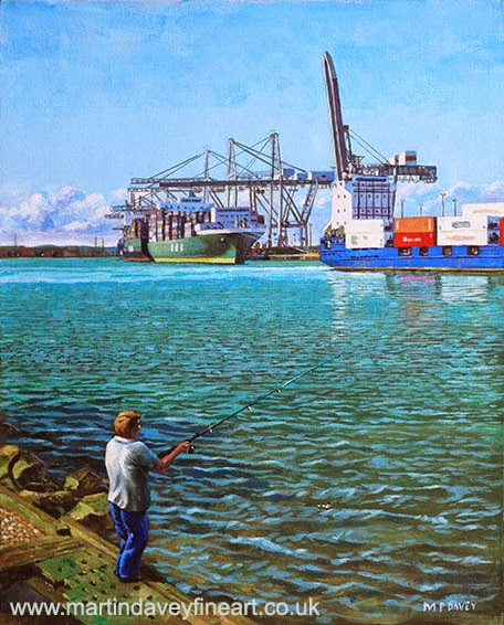 Southampton Western Docks Container Terminal as seen from Marchwood-acrylic painting