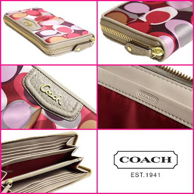 COACH Multicolor Ashley Scarf Print Zip Around Wallet 48711