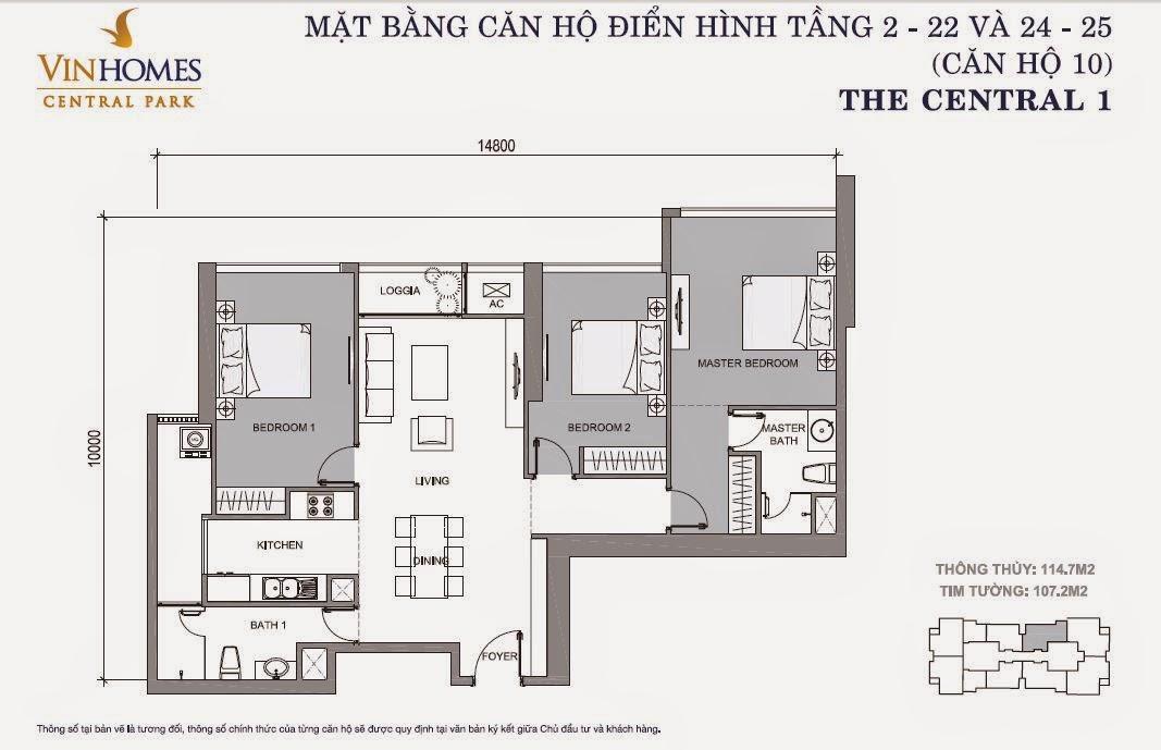 Mặt bằng căn hộ Vinhomes Central Park số 10 tầng 2 - 22 và 24 - 25