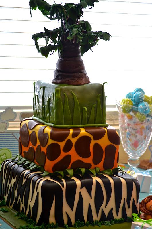 traylor made treats safari themed tiered baby shower cake