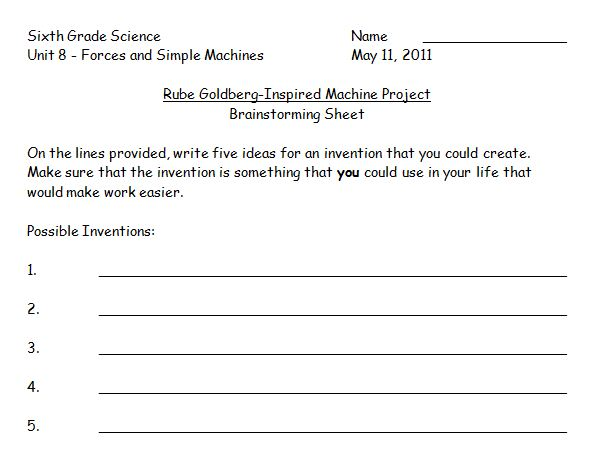 Pictures Rube Goldberg Worksheet - Studioxcess