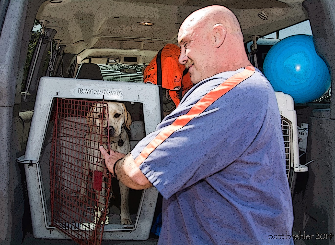 A man dressed in a blue prison shirt is reaching into an airline crate that is sitting in the back of a van. There is a yellow lab inside the crate looking out at the camera. The man is looking at the dog. There is a blue ball in the van on the right side.