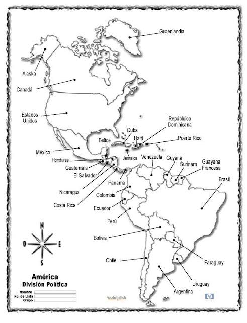 Mapa del continente americano con division política y sus nombres ...