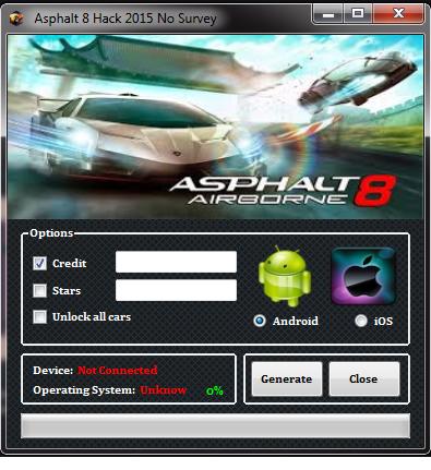 Asphalt 8 Airborne Hack  No Survey
