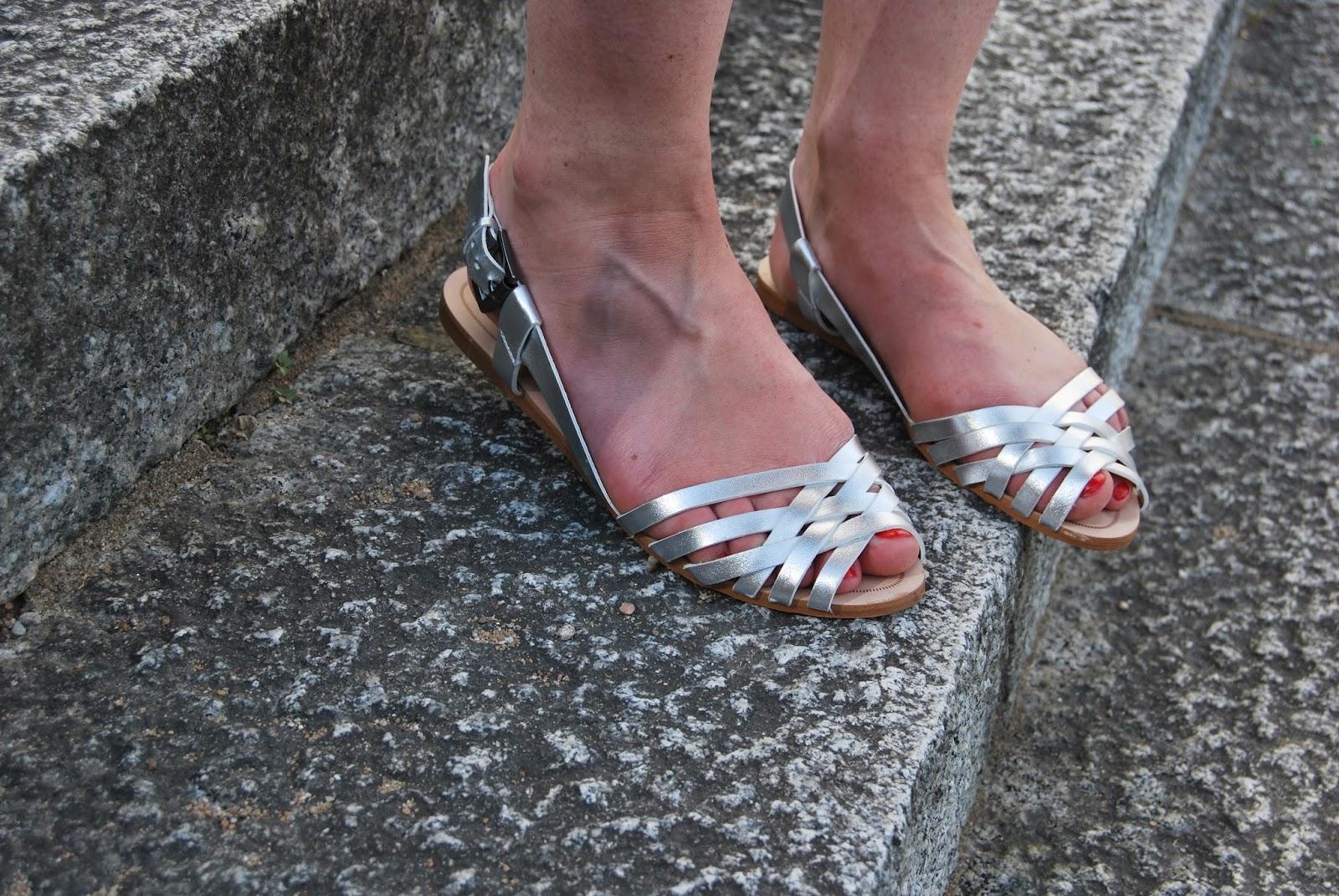 sandales argenté zara