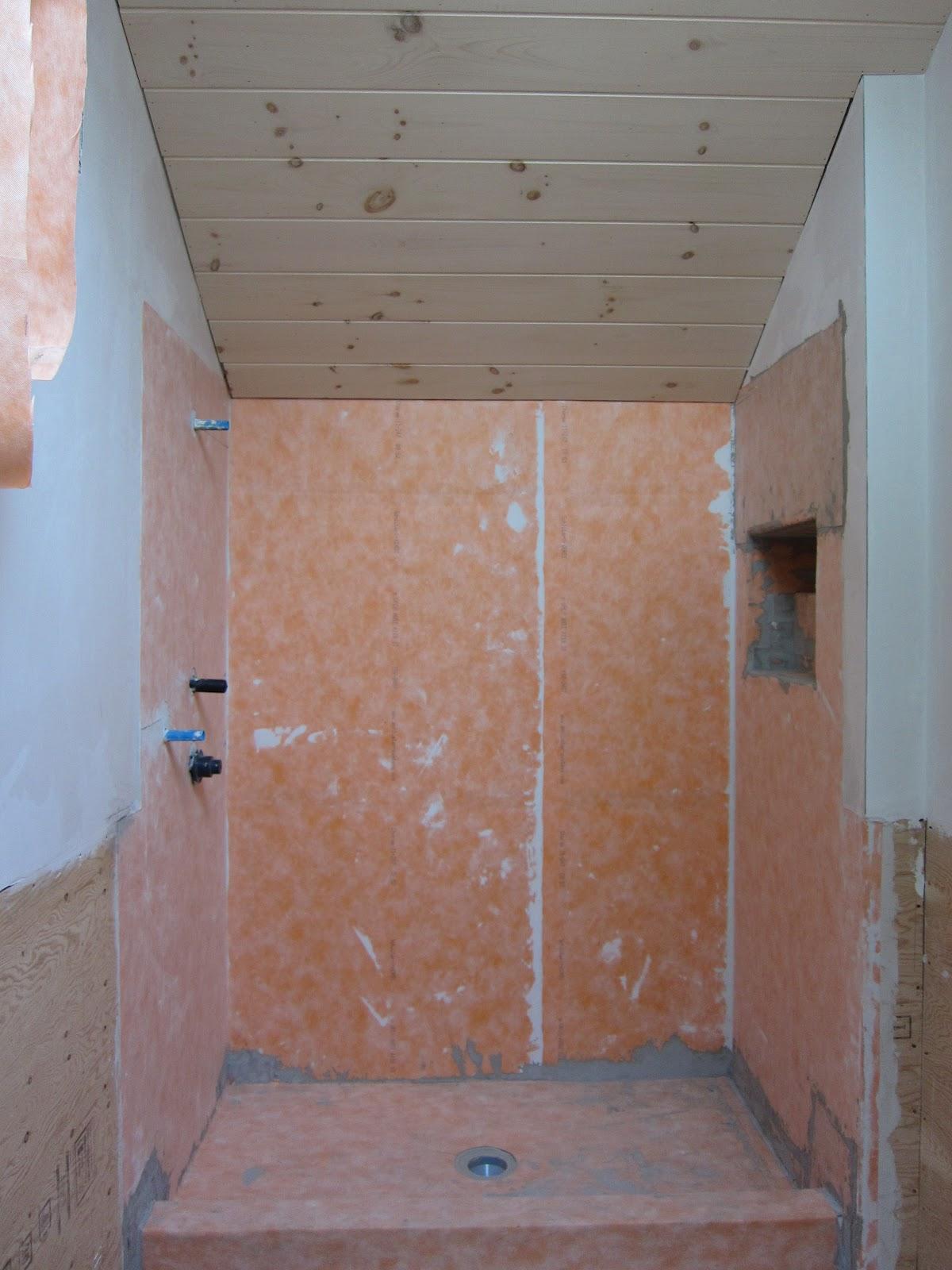 Good better nest bathroom progress - Ditra shower system ...
