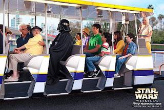 Darth Vader on a Walt Disney World Tram