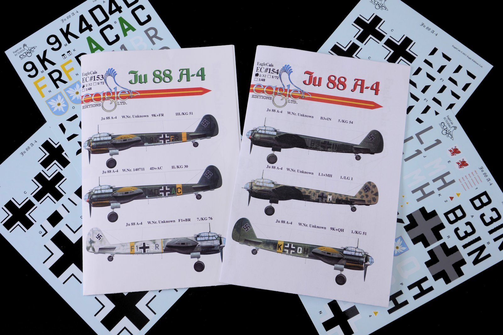 Review: EagleCals new Ju-88 A-4 decals - six aircraft and lots of choices available in three scales