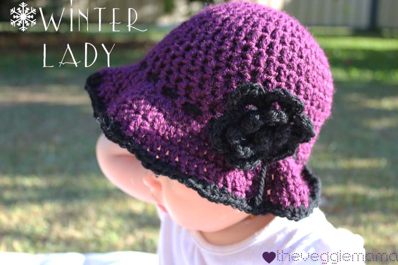 Free Crochet Pattern For Winter Hat : Veggie Mama: Free crochet pattern - Winter Lady baby girl hat