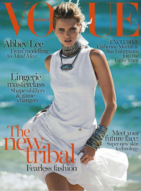 abbey lee kershaw, alexander wang, all-white, april 2014, australia, australian vogue, chanel, christina centenera, editorial, erdem, inspiration, joie de vivre, proenza schouler, stella mccartney, summer, blue, orange, vogue, magazine, chanel, mad max, tribal, goddess, queen, supermodel, model, high fashion, fashion model, high fashion model, josh goot, luxury