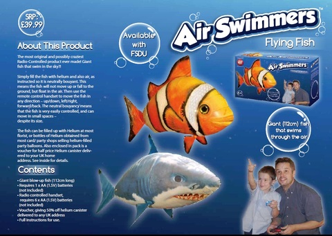 Helium fish remote control helium fish air swimmers for Remote control air swimming fish