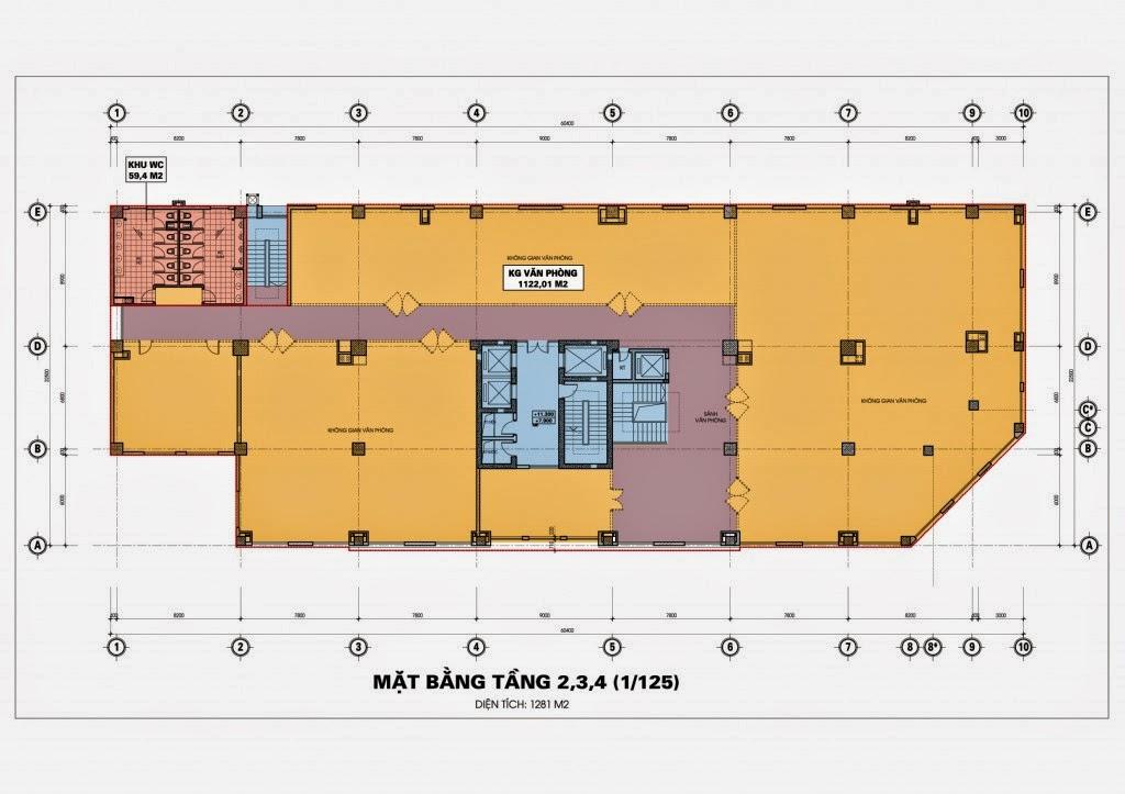 Thiết kế mặt bằng tầng 2,3,4 chung cư Diamond Blue