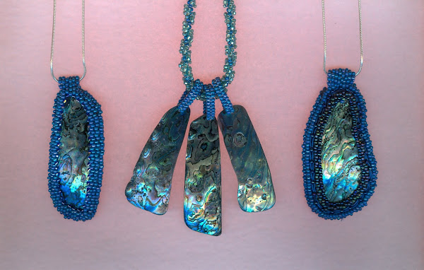 Paua shell necklace SS chain