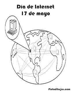 Día de internet 17 de mayo para colorear