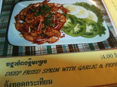 Cambodia: Menu offering Fried Sfrim