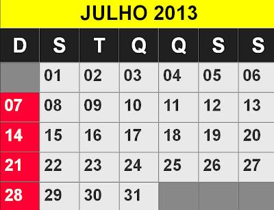 calendário julho 2013